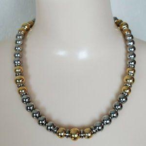 Vtg Napier Gold Silver 2 Tone Ball Bead Necklace